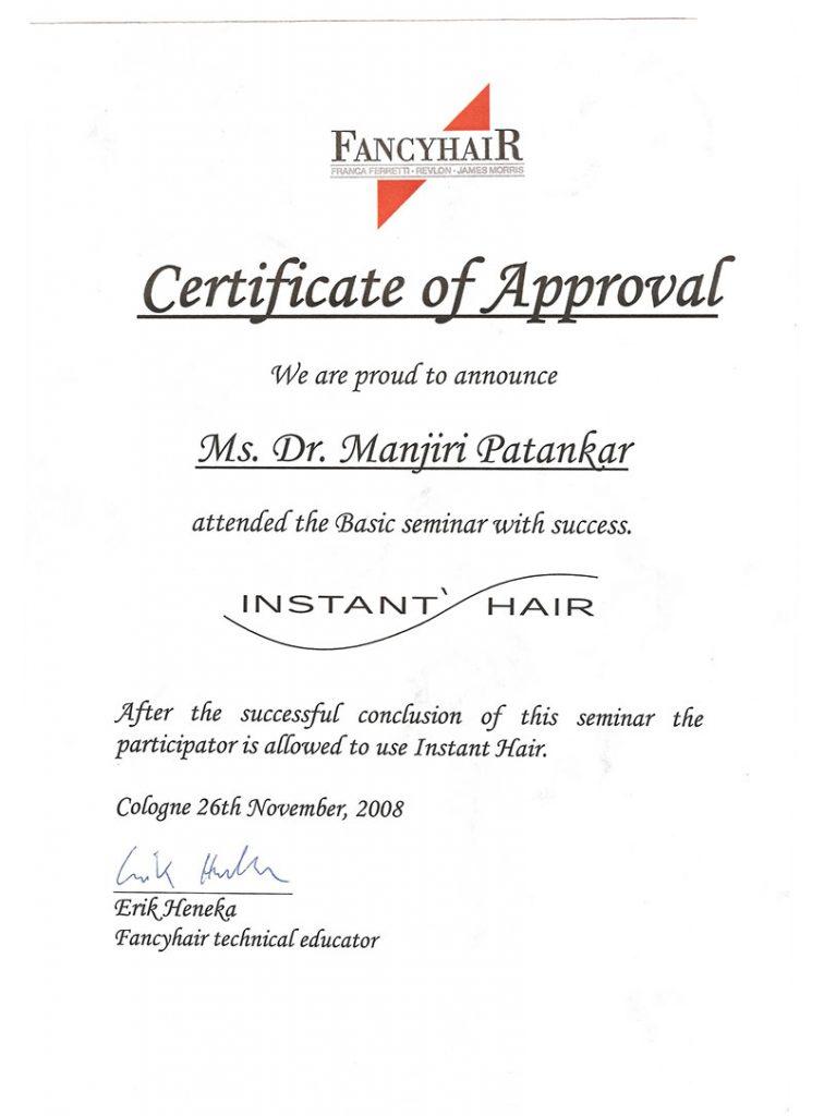 INSTA-HAIR certificate